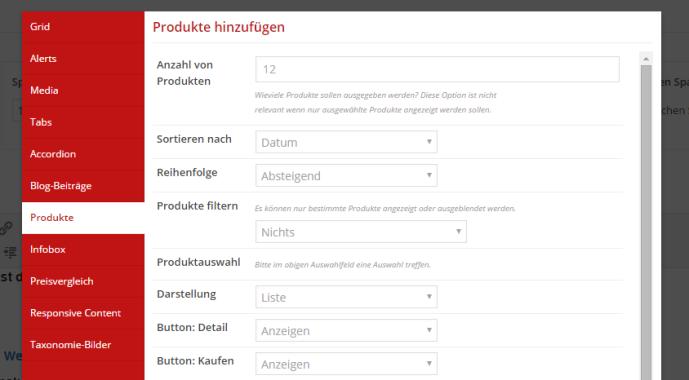 Vergleichstabelle Produktvergleich Shortcode