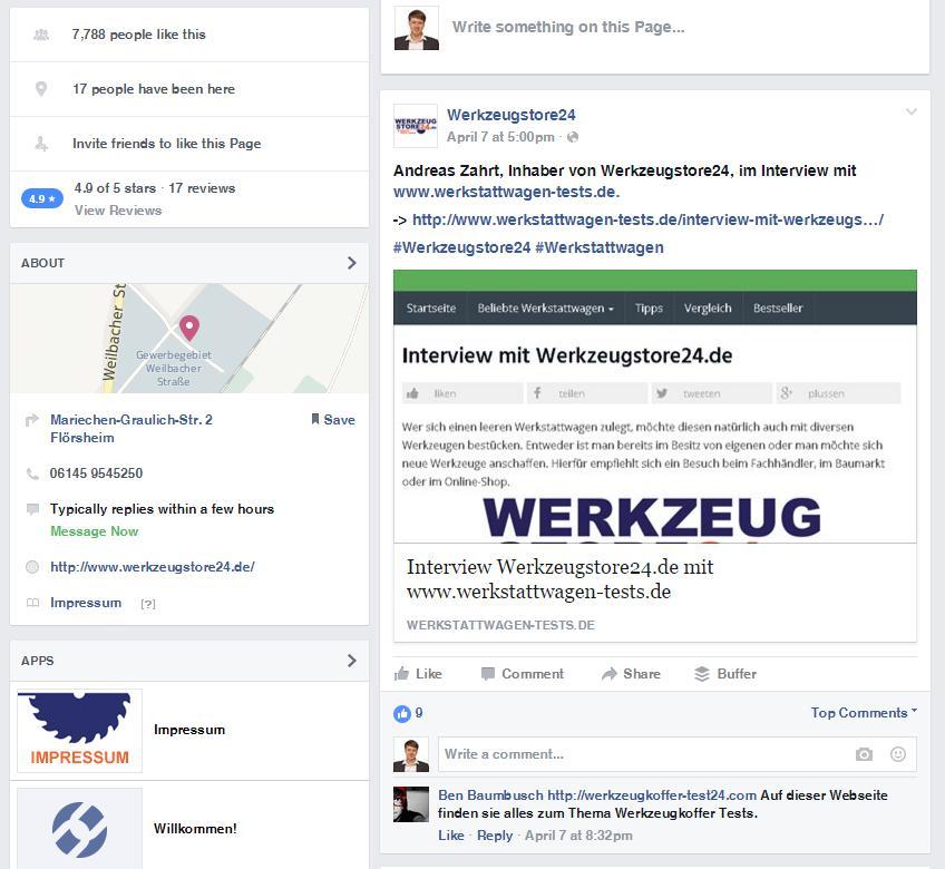 Facebook Post Werkzeugstore24